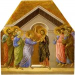 Duccio di Buoninsegna (c. 1255-1260  c. 1318-1319)  Maesta Altarpiece: Incredulity of Saint Thomas  Gold and tempera on panel, about 1308-1311  58 x 52.7 cm  Museo dellOpera del Duomo, Siena, Italy